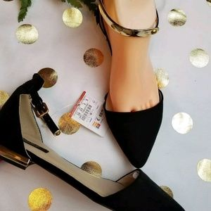 Zara d'orsay NWT flats black gold ankle straps
